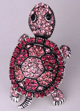 Shaky turtle stretch ring animal bling scarf jewelry antique silver pink 1Q
