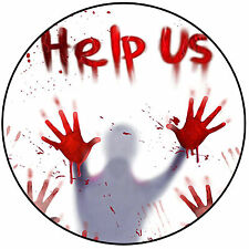 "Halloween Horror Help Us! Cake Topper - Pre-cut Round 8"" (20cm) Icing Decoration"