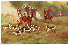 CHASSE A COURRE. CHIENS. DOGS. CHEVAUX. HORSES. RENARD. FOX.  HUNTING COURRE