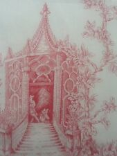 Toile  de Jouy  fabric red 1.6 metres long, 140 cm wide