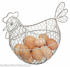 Kitchen Craft Living Nostalgia Large 32cm Wire Chicken Egg Storage Basket