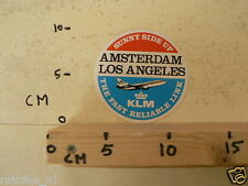STICKER,DECAL KLM AMSTERDAM LOS ANGELES SUNNY SIDE UP AIRPLANE