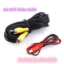 RCA Video Cable w/Detection Wire for Car Rear View Backup Camera Bus Truck Carav