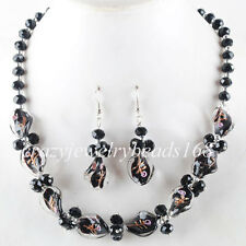 Black Crystal Faceted Lampwork Glass Beads Necklace Earrings SET M685
