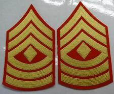 PAIR - MARINE CORPS 1stSGT RANK - GOLD ON RED - MALE  #USP1118