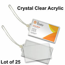 """Acrylic Luggage Tag  Business Card  2x3.5"""" Snap-in Clear 25 pcs #LT70-Clear-25#"""