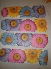 CUSTOM~  PINK BLUE YELLOW PURPLE GIANT GERBER DAISY DAISIES CEILING FAN