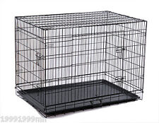 "PawHut 36"" L x 22"" x 25"" Black Folding Metal Dog Cage Pet Crate Kennel ABS Pan"