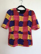 =QUIRKY= MARNI $1129 Runway AU 10 Paint Stroke Check Tartan Wool Silk Top Shirt