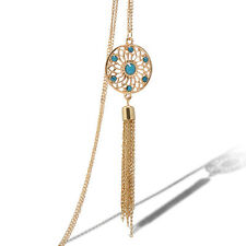 Women GOLD Long Chain Retro Turquoise Tassels Round Pendant Necklace Jewelry