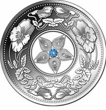 2012 Fiji Large Silver Proof  $10 Filigree Flower Ornaments w cubic zirconia