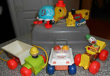 5 Vintage Fisher Price Toys, buggy, Toot-toot, Jalopy, jiffy truck, turtle