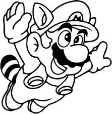 Super Mario Raccoon Funny Car Window Vinyl Decal Sticker Choose from 10 colors!