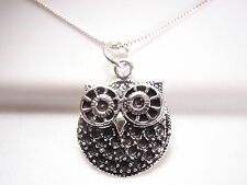 Big Eyed Owl Pendant 925 Sterling Silver Corona Sun Jewelry Nightlife