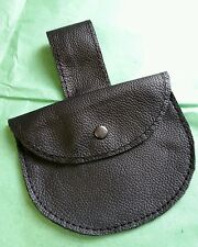 Real Leather Black pellet pouch with belt loop and gun metal coloured stud.