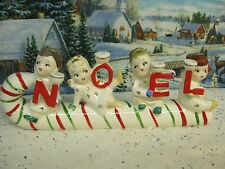 Vintage Candy Cane Kids Angel NOEL Candle Holder Set  (1164)