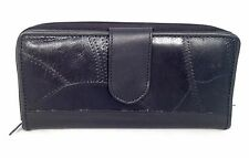 Black Leather Patchwork Accented Clutch Wallet Coin Cards Organizer Zip Around