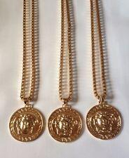 Lot revendeur 3 médaillon 18k plaqué or medusa chaine collier pendentif bijoux