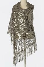 B56 Sequin Droplet Metallic Silver Lace Scallop Boutique Shawl Scarf Wrap