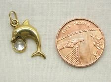 Vintage Pretty 9ct Gold Dolphin With Stone Set Ball Charm or Pendant