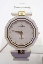 New 18k Gold Plated ROMANSON Swiss Ladies Watch w/White Genuine Leather R9005M