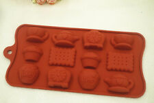 12-Silicone Kitchen Tea Cup Biscuit Clock Kettle Chocolate Candy Mold Ice Tray