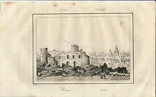 Stampa antica CATANIA veduta panoramica con l' Etna Sicilia 1835 Old print