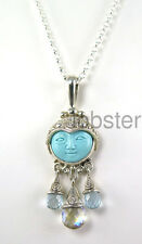 SAJEN CARVED GODDESS DANGLE PENDANT Sterling Silver Turquoise London Blue Topaz