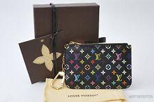 Auth Louis Vuitton Monogram Multicolor Pochette Cles Black Coin Case LV 23801