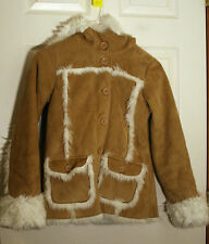Gap Hooded Brown Shearling Sheep FAUX FUR FURRY Girl's Coat Jacket XL 12 MINT