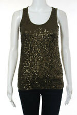 J Crew Olive Green Cotton Sleeveless Sequined Tank Top Size XS