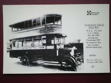 POSTCARD RP LIVERPOOL SOLID TYRE BUS - AEC YC - 1ST TOP COVERED DOUBLE DECKER