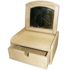 Wooden 1 Drawer Folding Mirror Jewellery Box 16x15x8cm Raw Paint Craft Decorate