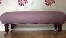 A Quality Long Footstool In Laura Ashley Dalton Amethyst Fabric