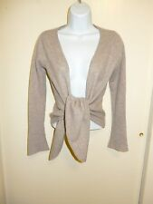 PHILOSOPHY 100% CASHMERE BEIGE OPEN FRONT SHRUG/CARDIGAN SWEATER S