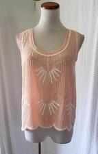 NEW PEACHY PINK Chiffon BEADED Flapper SCALLOPED HEM Boho PRAIRIE FESTIVAL TOP S