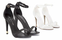 LADIES WOMENS STRAPPY ANKLE LIZARD HIGH HEEL STILETTO BARELY THERE SHOES SIZE