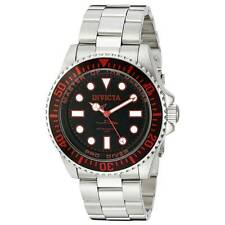 Invicta 20121 Gent's Red Accented Black Dial Steel Bracelet Watch