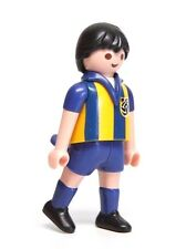 Playmobil Figure Sports Soccer Player w/ Blue Yellow Striped Jersey 5725 4726