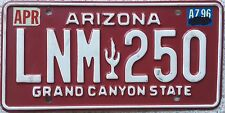 FREE UK POSTAGE Arizona Grand Canyon State red USA License Number Plate LNM 250