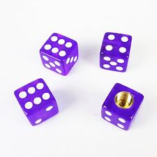 4pcs Universal Purple Dice Car Truck Bike Tire air Valve Stem Caps Wheel Rims