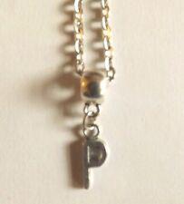 collier chaine argenté 46,5 cm avec pendentif lettre P 16x6 mm