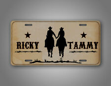 Personalized Western Cowboy Couple License Plate Cowgirl Holding Hands Horse Tag