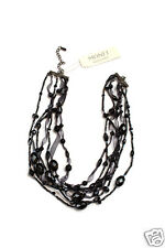 "Monet Gun Metal 7 Stranded Beaded Black Widow Necklace New 16"" Adj"