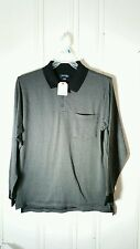 ST JOHNS BAY LONG SLEEVE POLO LARGE GRAY HARRINGBONE NEW WITH TAGS