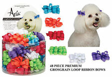 48pc GROSGRAIN LOOP CURLED DOG RIBBON HAIR BOW w/BARRETTE CLIP Grooming Top Knot