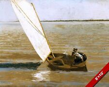 2 MEN SAILING IN DINGY BOAT AMERICAN OIL PAINTING ART REAL CANVAS GICLEE PRINT
