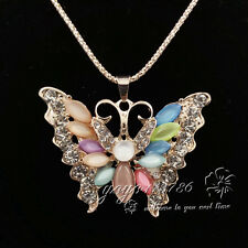 Fashion gold-plated Butterfly pendant Crystal Long Necklace Sweater chain LL248