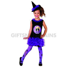 Girls Purple Tutu Witch Halloween Costume Dress Hat Tights Kids Party S: S(2-4y)
