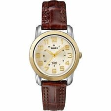 BRAND NEW TIMEX T2N436 ELEVATED CLASSICS BROWN LEATHER 2 TONE CASE WOMEN'S WATCH